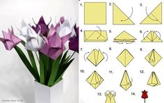 Art of origami. Tulip Origami, Origami 3d, Paper Crafts Origami, Origami Flowers, Paper Flowers Diy, Flower Crafts, Diy Paper, Paper Art, Cute Crafts