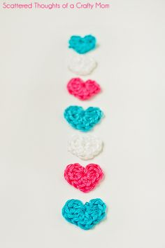 Scattered Thoughts of a Crafty Mom: Tiny Crochet Hearts (w/ pattern)