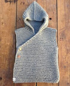Hand Knitted Chunky Unisex Organic Cotton Hooded Vest - Light Grey.
