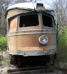 An old Trolley car waiting to be restored at the Museum of Transportation in St. Louis, MO.