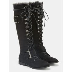 Justfab Flat Boots Addison (3.175 RUB) ❤ liked on Polyvore featuring shoes, boots, black, long black boots, black flat shoes, platform boots, low heel boots and black low heel boots