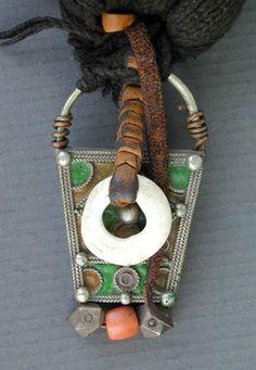 Details of the decoration shown onto an old Berber woolen head-dress, see http://pinterest.com/pin/145522631679744233