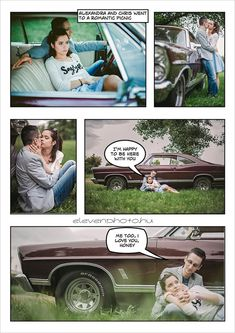 Comic Book Engagement Shoot - LOVE THIS, set up Save the Date cards in a panel like style