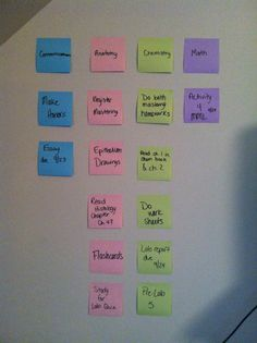 A way for a college student to stay organized. Get a different color sticky note for each class and make a homework wall. You'll never forget an assignment again. College Dorm Organization, Homework Organization, College Hacks, School Hacks, College Classes, College Life, Apps, Nursing Students, Nursing Schools