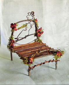All Natural TWIG Furniture BED B for Miniature Dollhouse. One of a Kind TWIG BED made for a delightful Fairy. FAIRY GARDEN or FAIRY HOUSE. in your Fairy HOUSE or Fairy GARDEN! TWIGS, Wood Vine, Moss, Rose Petals! | eBay!