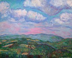 Violet Rocky Knob Evening Art 16x20 Original by TowheeHillStudio, $640.00