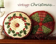 cloth yo-yo christmas ornaments | Yo-Yo Projects and Patterns | Pattern: Prairie Christmas Fabric ...