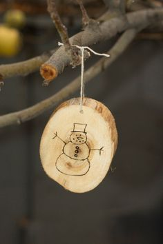 Natural Wood Burned Christmas Ornament  by TheWhimsyBeehive, $6.00