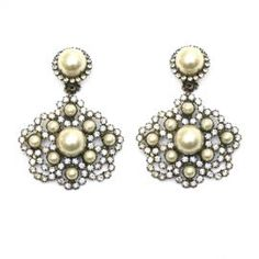 KJL Ornate Pearl Earrings