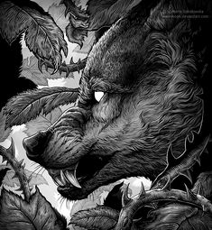 hidden by weremoon on DeviantArt Cool Art Drawings, Animal Drawings, Dessin Old School, Wolf Artwork, Werewolf Art, Wolf Tattoo Design, Epic Art, Dope Art, Dark Fantasy Art