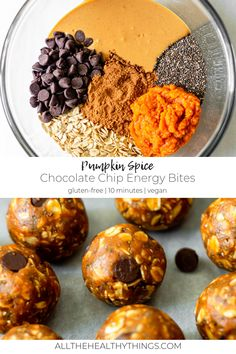 Sep 2019 - These delicious Pumpkin Spice Energy Bites are the perfect fall treat. They're made with just a few simple, good for you ingredients and naturally sweetened with maple syrup for a yummy sweet treat that I know you'll love! Baked Pumpkin, Pumpkin Recipes, Fall Recipes, Pumpkin Spice, Whole Food Recipes, Snack Recipes, Cooking Recipes, Pumpkin Oatmeal Cookies, Healthy Sweet Snacks