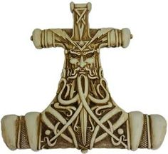 """This grandThor's hammer is antique white bone color with brown highlights and has deep design relief for quality detail for viewing near or far. Cold cast resin comes with attached metal loop for mounting on wall or door. 11 3/4"""" x 11 3/4"""""""
