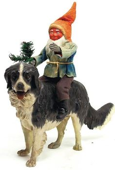 Antique St. Bernard Dog With Elf Candy Container, Paper Mache.