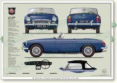 MGB Roadster 1965-69 classic sports car portrait print