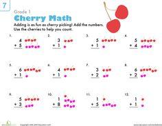 Worksheets: Count 'Em Up: Cherry Addition 1st grade math worksheets