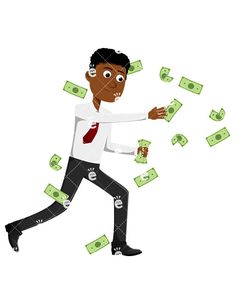 A Black Man Trying To Catch Money Swirling All Around:  #abundance #abundant #affiliate #affluent #african #african-american #american #black #boss #business #businessman #capitalist #career #cartoon #cash #CEO #character #chasing #clipart #company #conor #corporate #corporation #dollars #drawing #economical #economy #enterprise #entrepreneur #executive #finance #financial #financier...