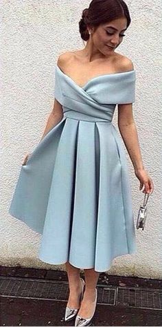 Blue Off-the-Shoulder A-line Midi Evening Dress