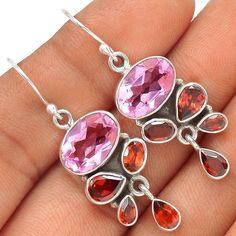 Pink kunzite & Garnet 925 Silver Earrings Jewelry SE125087 | eBay