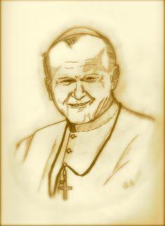 Papa Giovanni Paolo II disegno a matita di Gessica Signori