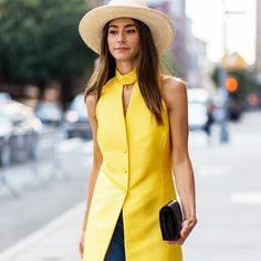 Style Your Summer Hat Like A Fashion Girl - Natural straw is a subtle complement to bright yellow.