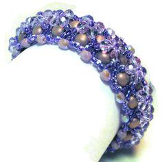 Czech purple beadwoven bracelet by MiSuenos on Etsy, $20.00