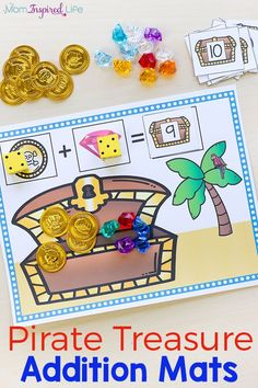 These pirate treasure addition mats make learning math hands-on and engaging!