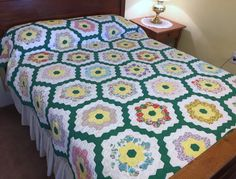 Grandmother's Flower Garden Quilt Vintage Hand by AStringorTwo