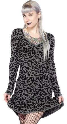 SOURPUSS GRAY LEOPARD DRESS - Rawr! You'll feel like the baddest cat in the jungle in this slinky and soft Gray Leopard Sweater Dress! Made of 100% Viscose yarn, this dress will keep you warm AND have you lookin' good.