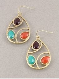 Jewel Gem Drops $7.95  Hammered tear drop shaped earrings with opaque jewel tone stones. #earrings #accessories #fashion #jewelry