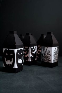 Halloween Paper Lanterns made with Cricut Explore -- This Heart of Mine… Halloween Cards, Holidays Halloween, Halloween Diy, Paper Lantern Making, Paper Lanterns, Spooky Decor, Halloween Decorations, Fall Craft Fairs, Cricut Explore Projects
