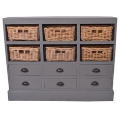 This stunning cabinet features a practical combination of woven baskets and drawers, resulting in an elegant, trendy and unique touch to your living space. Crafted by artisans in Indonesia, this cabinet is a one-of-a-kind master piece.