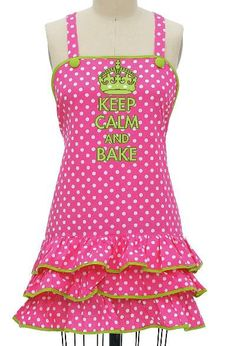 Keep Calm & Bake, Diva Apron, Vintage look,  word on front, Ships Quick and Free!!