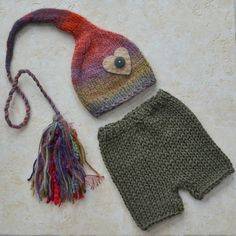 RTS KNiT Newborn Boy Girl BaBY Hat Short Pant by MadAboutColour, $65.00