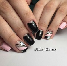 Black and pink nails, Geometric nails, Manicure Moon nails Nails trends Party nails, Ring finger nails, Spring summer nails 2017 Pink Nail Art, Cool Nail Art, Pink Nails, Glitter Nails, Beautiful Nail Art, Gorgeous Nails, Hot Nail Designs, Moon Nails, Geometric Nail Art