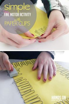 What can you do with three always on-hand supplies? Check out our easy answer with a simple fine motor activity! All you need is paper clips! Quiet Toddler Activities, Fine Motor Activities For Kids, Motor Skills Activities, Outdoor Activities For Kids, Gross Motor Skills, Sensory Activities, Toddler Preschool, Preschool Activities, Play Activity