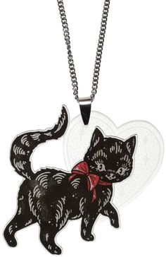 CREEP HEART BLACK CAT NECKLACE - This Black Cat Necklace was designed by Ella Mobbs and is made of laser cut and printed acrylic! This tattoo-styled cheeky black cat is strutting his way into your heart and taking your luck with him! The clear acrylic heart has a ghostly feel to it, which can be illuminated by wearing over black.