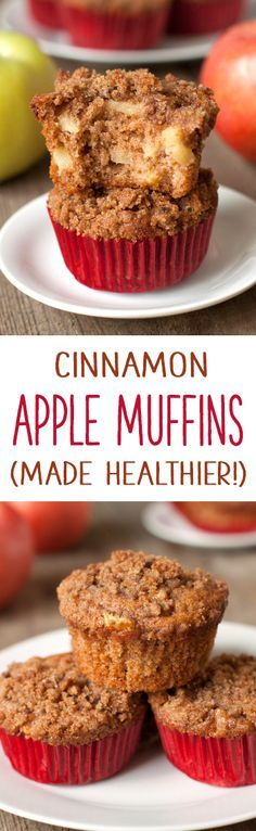 Super moist and delicious cinnamon apple muffins {100% whole grain}