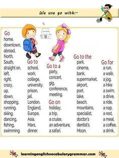 Examples of how to use the verb go correctly with pictures. Learning basic English