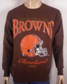 vtg 80s 90s NOS Deadstock Cleveland Browns Sweatshirt NFL Helmet Logo SZ M #ClevelandBrowns