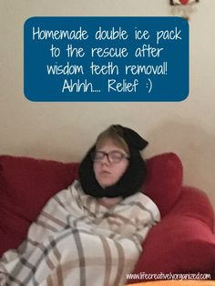How to make a homemade ice pack for after wisdom teeth removal. Easy to make with items you already have. Your sore face (& the tooth fairy) will thank you! Wisdom Teeth Removal Recovery, Wisdom Teeth Removal Food, Wisdom Teeth Aftercare, Wisdom Teeth Ice Pack, Food After Wisdom Teeth, Teeth Surgery, Dental Surgery, Dental Implants, Homemade Ice Pack