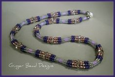 Herringbone Necklace  This was really fun to do! Using different size beads gives this an  undulating look.