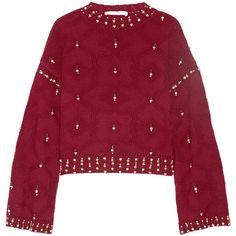 Jonathan Simkhai Matador embellished wool sweater (2.650 RON) ❤ liked on Polyvore featuring tops, sweaters, burgundy, burgundy sweaters, red wool sweater, burgundy top, shimmer tops and embellished sweater