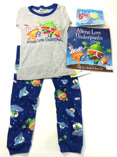 Boys Pajamas 4T Aliens Love Underpants Book Blue Sleepwear NWT #Bookjamas #ThreePiece
