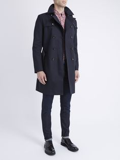 Navy Double Breasted Twill Trench Coat