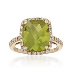 Ross-Simons - 4.65 Carat Peridot and .39 ct. t.w. Diamond Ring in 14kt Yellow Gold - #798985