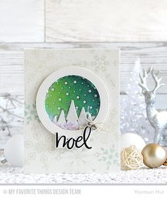 RejoicingCrafts: MFT November Release Countdown Day 5. MFT Simply Snowflakes Stamp Set, Hand-Lettered Christmas Stamp Set, Starry Circle Die-namics. #mftstamps #christmas #noel #snowglobe #handmade #card #stamping