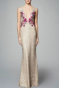 Marchesa Notte Sleeveless Metallic Floral Embroidered Column Gown | Poshare