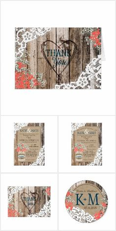 Rustic Country Baby's Breath Coral WEDDING SET COLLECTION Hydrangea Barn Wood and Lace Pretty Personalized Invites Announcements Invitations Postage Stamps Stickers Address Labels RSVP Thank You Cards & More! #rusticlacewedding