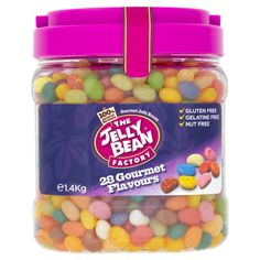 The Jelly Bean Factory 28 Gourmet Flavours Jelly Beans Gourmet Jelly Beans, Jelly Bean Flavors, Chocolate Sweets, Candy Floss, Strawberry Smoothie, Banana Split, French Vanilla, Lemon Lime, Pina Colada