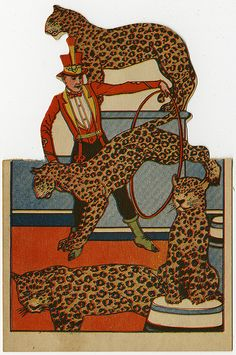 Vintage Leopards Circus Card, 1922